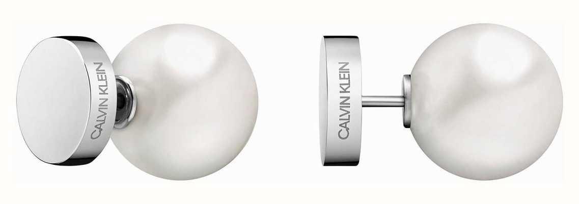 Calvin Klein | Bubbly Silver Stainless Steel White Pearl Stud Earrings | KJ9RME040600