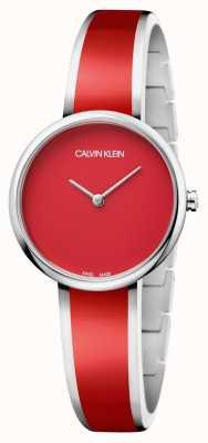 Calvin Klein | Womens Seduce | Stainless Steel Red Resin Bracelet | K4E2N11P