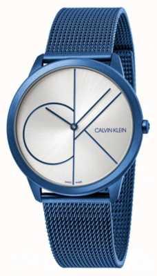 Calvin Klein Minimal | Blue Mesh Bracelet | Silver Dial | K3M51T56