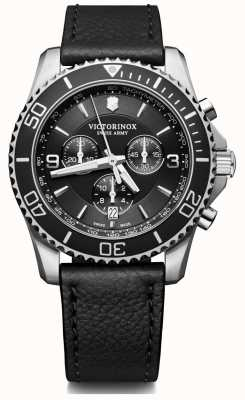 Victorinox Swiss Army | Maverick | Mens | Black Chrono | Black Leather Strap | 241864
