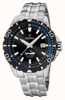 Festina   Mens Divers   Stainless Steel Bracelet   Black/Blue Dial   F20461/4