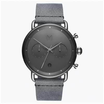 MVMT Blacktop Silver Mist | Grey Leather Strap | Grey Dial D-BT01-SGR