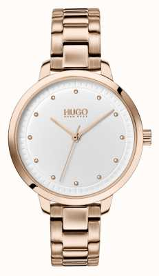 HUGO #ACHIEVE | Rose Gold IP Bracelet | White Dial 1540037