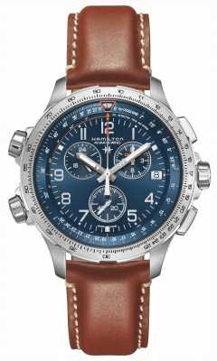 Hamilton | Khaki Aviation X-Wind GMT | Blue Dial | Brown Leather | H77922541
