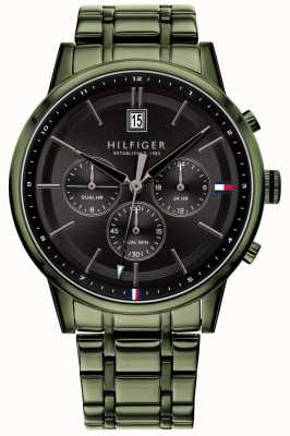 Tommy Hilfiger | Men's Green PVD Plated Bracelet | Black Dial | 1791634
