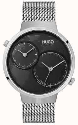 HUGO #travel | Stainless Steel Mesh | Black Dial 1530055