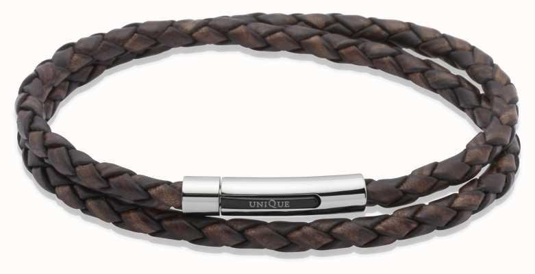 Unique & Co Dark Brown Leather |Steel Clasp | Bracelet B171ADB/21CM