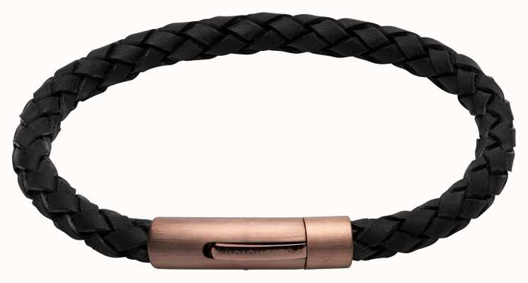 Unique & Co Black Leather | Matte Brown IP Clasp | Bracelet B441BL/21CM