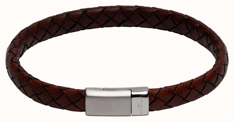 Unique & Co Dark Brown Leather | Steel Clasp | Bracelet B446ADB/21CM
