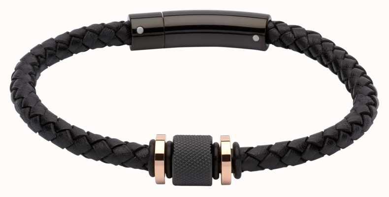 Unique & Co Black Leather | Black IP Steel | Bracelet B347BL/21CM