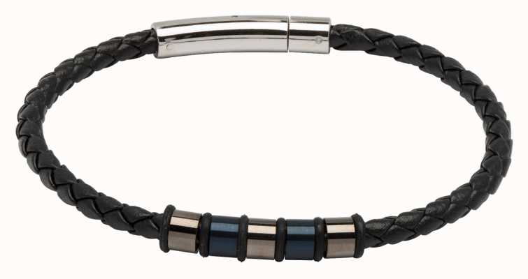 Unique & Co Black Leather | Gunmetal And Navy IP Steel | Bracelet B405BL/21CM