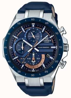 Casio | Edifice Chronograph | Solar Powered | Blue Leather Strap | EQS-920BL-2AVUEF