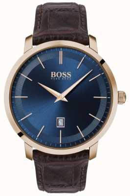 Boss | Men's Premium Classic |  Brown Leather Strap | Blue Dial | 1513745