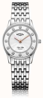 Rotary | Women's Ultra Slim Stainless Steel | Mother Of Pearl Dial LB08300/01/D