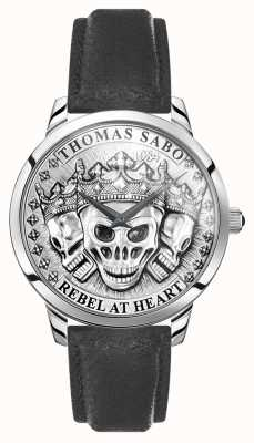 Thomas Sabo | Men's Rebel Spirit 3D Skulls | Black Leather Strap | WA0355-203-201-42