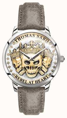 Thomas Sabo | Men's Rebel Spirit 3D Skulls | Gold Dial | Leather Strap | WA0356-273-207-42
