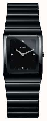 Rado Ceramica Diamonds Square Dial Black Ceramic Bracelet Watch R21702702