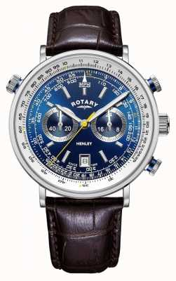 Rotary | Men's Henley Chronograph | Blue Dial | Brown Leather Strap GS05235/05