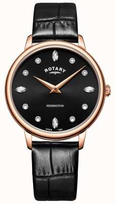 Rotary | Women's Kensington | Swarovski Crystal Black Dial | LS05174/04