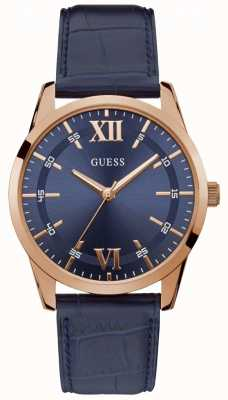 Guess | Men's Theo | Leather Strap | Blue Dial | W1307G2