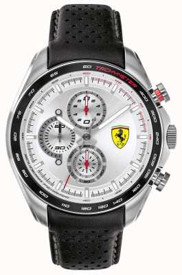 Scuderia Ferrari | Men's Speed-Racer | Black Leather Strap | Silver Dial | 0830651