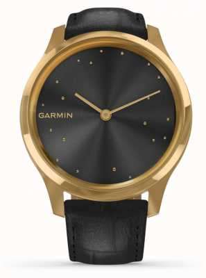 Garmin Vivomove Luxe | 24ct Gold PVD Case | Black Italian Leather 010-02241-02