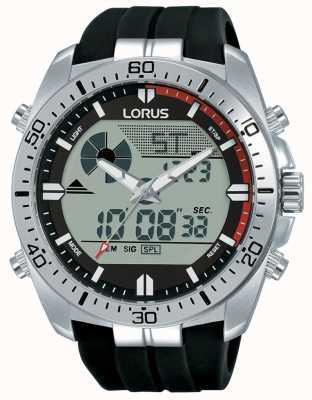 Lorus | Men's Duo Display | Black Rubber Strap | R2B07AX9