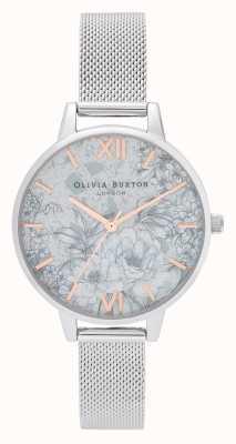 Olivia Burton | Womens | Terrazzo Florals | Silver Mesh Bracelet | OB16TZ06