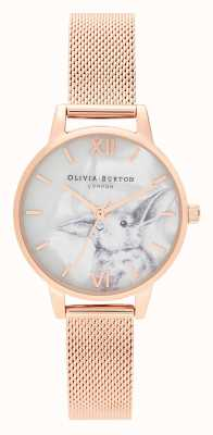 Olivia Burton | Womens | Illustrated Animals | Bunny | Rose Gold Mesh | OB16WL85
