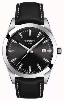 Tissot Gentleman | Black Leather Strap | Black Dial | T1274101605100