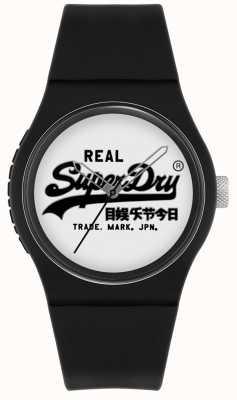 Superdry Urban Original | Black Silicone Strap | White Print Dial | SYG280BW