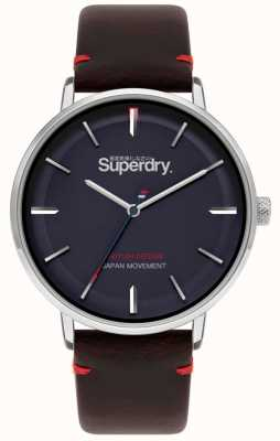 Superdry Ascot XL | Brown Leather Strap | Blue Dial | SYG283BR