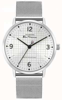 Ben Sherman Men's Stainless Steel Mesh Bracelet | Silver Sunray Dial | BS025SM