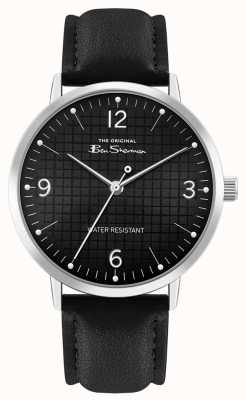 Ben Sherman Men's Black Leather Strap | Black Patterned Dial | BS025B