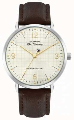 Ben Sherman Men's Brown Leather Strap | Off White Sunray Dial | BS025BR