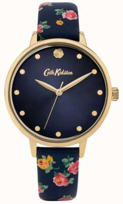 Cath Kidston | Women's Navy Floral Leather Strap | Navy Dial | CKL089U