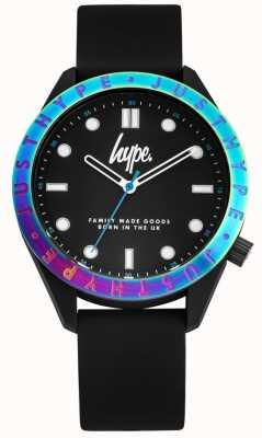 Hype Men's Black Silicone Strap |Black Dial |Multi-Coloured Bezel HYG014B