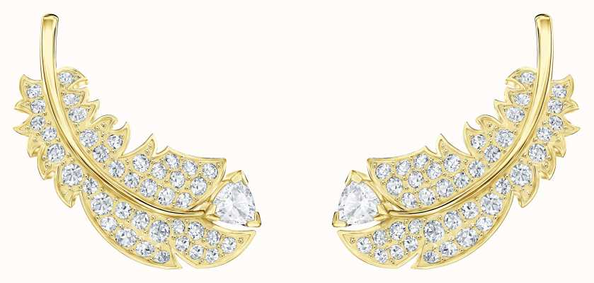 Swarovski Nice | Gold-Toned plated |White |Feather |Stud Earrings 5505623