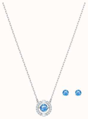 Swarovski Sparkling | Dancing Round Necklace Set | Stud Earrings |Blue 5480485