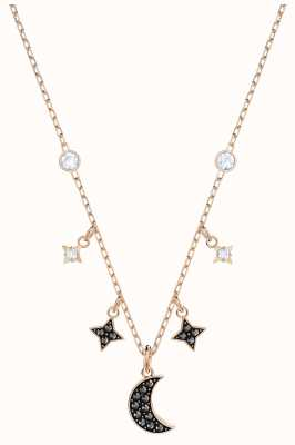 Swarovski Symbolic | Rose-Gold Plated | Black | Moon | Necklace 5429737