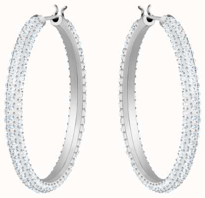 Swarovski Stone | Rhodium Plated Hoop Pierced Earrings | White Stones 5389432