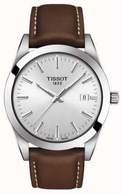Tissot | Gentleman | Brown Leather Strap | Silver Dial | T1274101603100