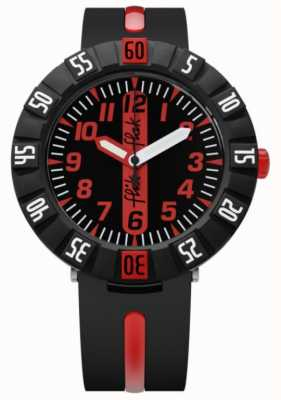 Flik Flak | Red Ahead | Black Plastic Strap | Black/Red Dial | FCSP079