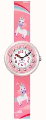 Flik Flak | Magical Dream | Pink Unicorn Print Fabric Strap |Pink Dial FBNP121