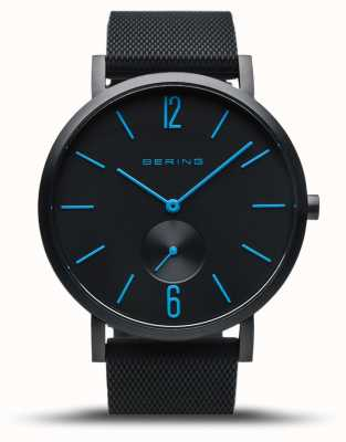 Bering | True Aurora | Black Rubber Strap | Black Dial | Blue Hands 16940-499
