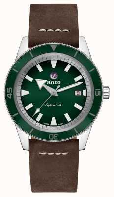 Rado XL 'Captain Cook' Brown Leather Strap Green Dial R32505315