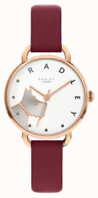 Radley   Women's Wood Street   Merlot Leather Strap  White Dog Dial RY2874