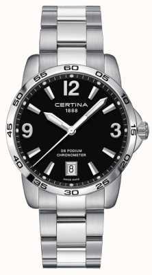 Certina DS Podium 40mm | Stainless Steel Bracelet | Black Dial | C0344511105700