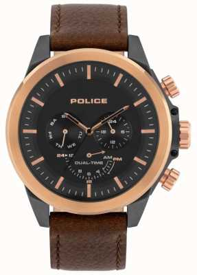 Police | Men's Belmont | Brown Leather Strap | Black Dial | 15970JSUR/02