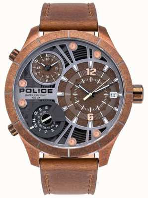 Police | Men's Bushmaster | Brown Leather Strap | Brown Dial | 15662XSQR/12